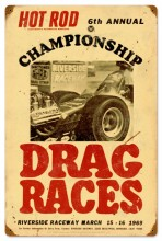 Retro Hot Rod Magazine championship Drag Races Tin Sign