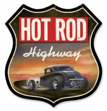 Retro Hot Rod Magazine Highway Tin Sign