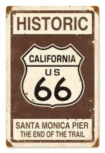 Retro Historic Route 66 Tin Sign