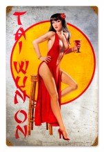 Tai pinup girl metal sign