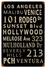 Vintage LA Towns Tin Sign