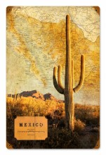 Retro Mexico Map Tin Sign