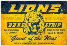 Retro Lions Drag Strip Tin-Metal Sign LARGE
