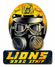 Retro Lions Drag Helmet Tin-Metal Sign