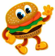 Retro Hamburger Tin-Metal Sign