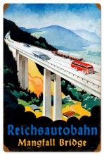 Retro Reichsautobahn Bridge Metal Sign
