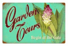 Vintage Garden Tours Tin Sign