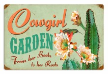 Retro Cowgirl Garden Tin Sign
