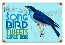 Retro Bird Tweets Metal Sign