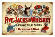Retro Five Jacks Whiskey Tin Sign