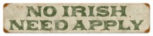 Vintage No Irish Metal Sign
