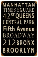 Vintage New York Streets Tin-Metal Sign