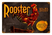 Vintage Rooster Brand Tin-Metal Sign