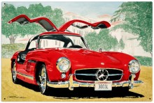 Retro Mercedes Gullwing Metal Sign LARGE