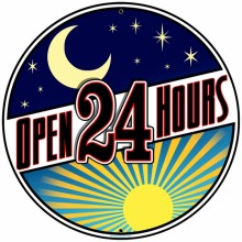 Retro Open 24 Hours Tin-Metal Sign LARGE