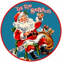 Retro Tis The Season Tin-Metal Sign LARGE