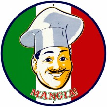 Retro Mangia Tin-Metal Sign LARGE