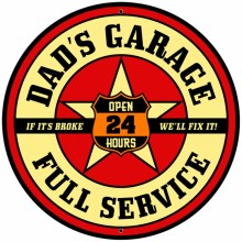 Retro Dad's Garage Tin-Metal Sign LARGE