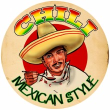 Retro Chili Tin-Metal Sign LARGE