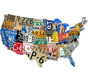 usa map licence plates sign