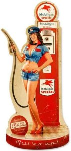 Vintage Gas Pump Girl Custom Shape - Pin-Up Girl Metal Sign 13 x 26 Inches