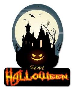 Happy Halloween Haunted House Metal Sign