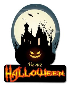 Happy Halloween Haunted House Metal Sign