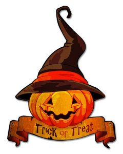 Trick Or Treat Jack Olantern Metal Sign