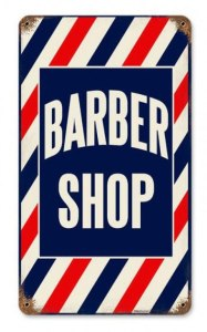 Barber Shop Metal Sign 14 x 8 Inches